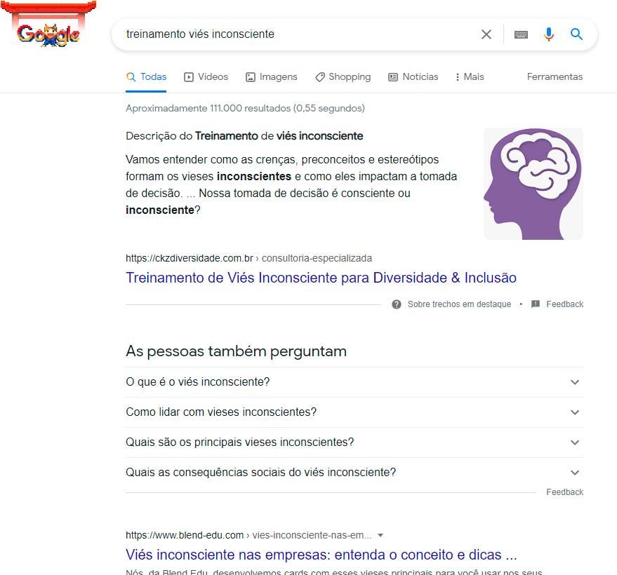 Trecho em destaque Google